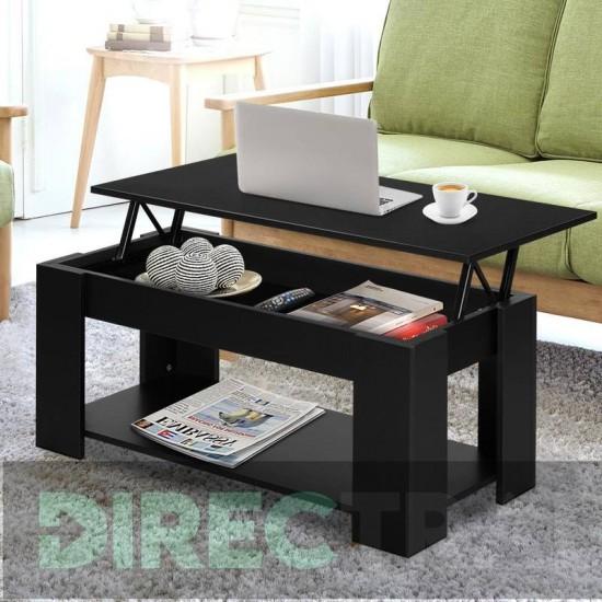 Lift Up Top Coffee Table Storage Shelf Black