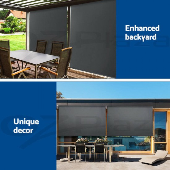 3m x 2.5m Retractable Straight Drop Roll Down Awning ...
